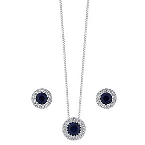 9ct white gold sapphire & diamond earring and pendant set - Product number 3757455