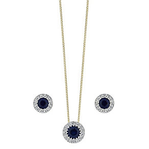 9ct gold sapphire & diamond earrings and pendant set - Product number 3757463