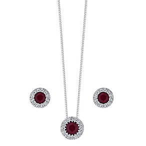 9ct white gold ruby & diamond earring and pendant set - Product number 3757471