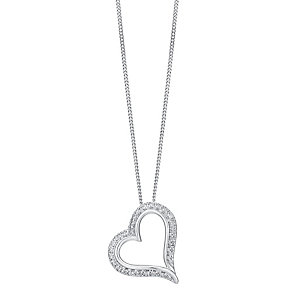 9ct white gold diamond heart pendant - Product number 3757528