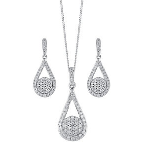 9ct white gold 0.66ct diamond earring and pendant set - Product number 3757552