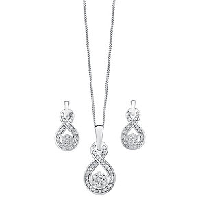 9ct white gold 0.25ct diamond earring and pendant set - Product number 3757560