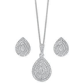 9ct white gold 0.75ct diamond earring and pendant set - Product number 3757579