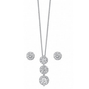 9ct white gold 0.75ct diamond earring and pendant set - Product number 3757587