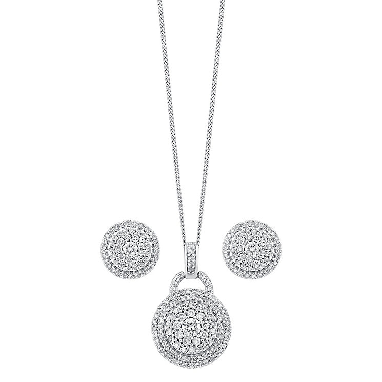 18ct white gold 1ct diamond earring and pendant set - Product number 3757625