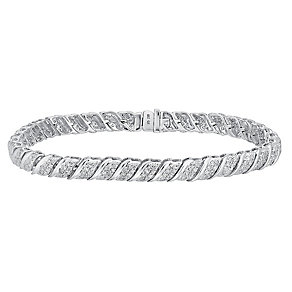 9ct white gold 2ct diamond bracelet - Product number 3757641