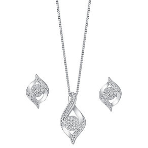 9ct white gold 0.15ct diamond earring and pendant set - Product number 3757668