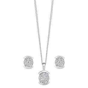 9ct white gold 0.25ct diamond earring and pendant set - Product number 3757676
