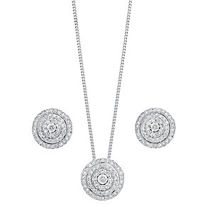 9ct white gold 0.67ct diamond earring and pendant set - Product number 3757684