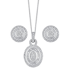 9ct white gold 0.67ct diamond earring and pendant set - Product number 3757692