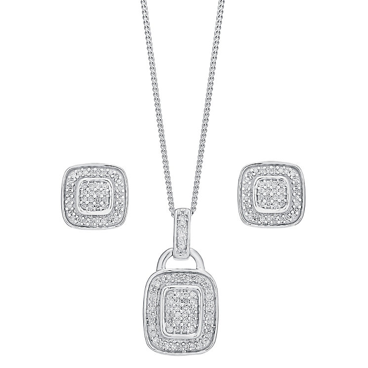 9ct white gold 0.25ct diamond earring and pendant set - Product number 3757706
