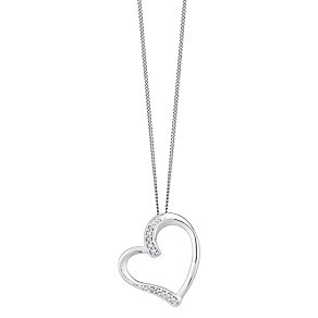 9ct white gold diamond heart pendant - Product number 3757714