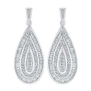 9ct white gold earrings with a concealed diamond - Product number 3757722