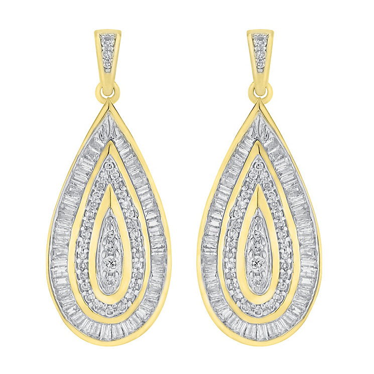 9ct gold 0.50ct diamond earrings with a concealed diamond - Product number 3757730