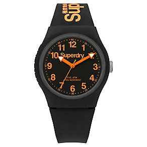 Superdry Men's Urban Black And Orange Slim Silicone Watch - Product number 3757781