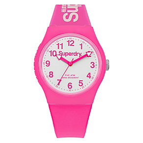 Superdry Ladies' Urban Pink And White Slim Silicone Watch - Product number 3757803