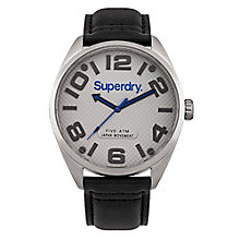Superdry Men's Grey Dial Black Leather Strap Watch - Product number 3757811