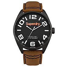 Superdry Men's Round Black Dial Tan Leather Strap Watch - Product number 3757838