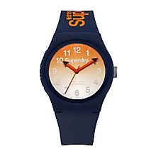 Superdry Men's Round Orange Dial Navy Silicon Strap Watch - Product number 3757994