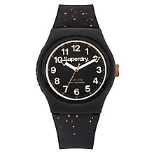 Superdry Ladies' Black Dial Black Silicone Strap Watch - Product number 3758109