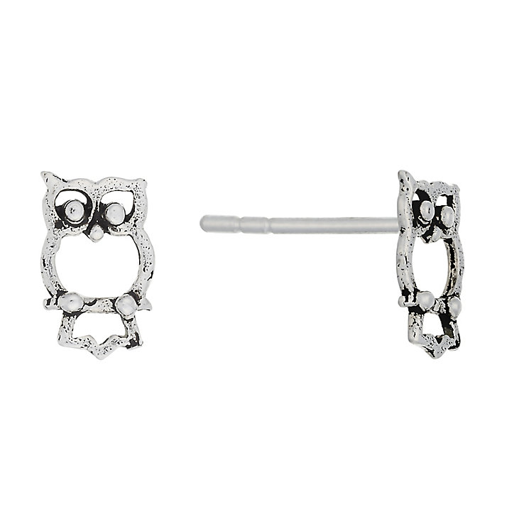 Sterling Silver Owl Stud Earrings - Product number 3759644