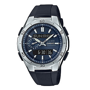 Casio Wave Ceptor Men's Blue Dial Black Resin Strap Watch - Product number 3759652