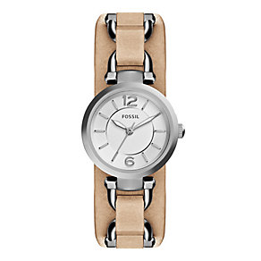 Fossil Georgia ladies' stainless steel leather strap watch - Product number 3760103
