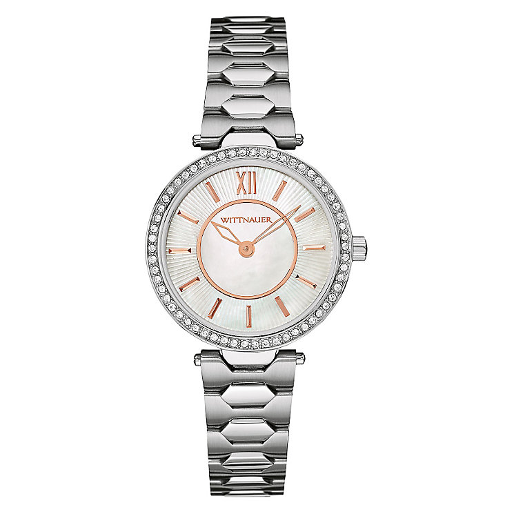 Wittnauer Taylor ladies' stainless steel stone set watch - Product number 3760383