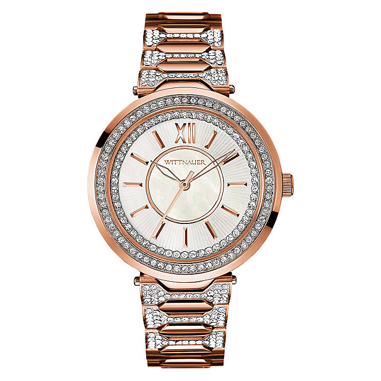 Wittnauer Taylor ladies' rose gold-plated stone set watch - Product number 3760413