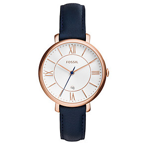 Fossil Jacqueline rose gold-plated navy leather strap watch - Product number 3760731