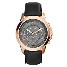 Fossil Grant men's rose gold-tone black strap watch - Product number 3760766