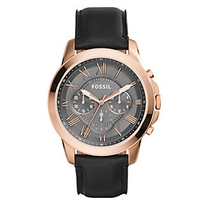 Fossil Grant men's rose gold-plated black strap watch - Product number 3760766