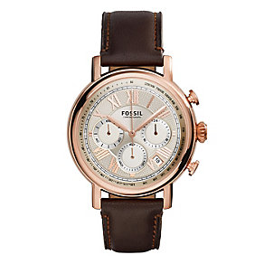 Fossil men's rose gold-plated brown leather strap watch - Product number 3760774