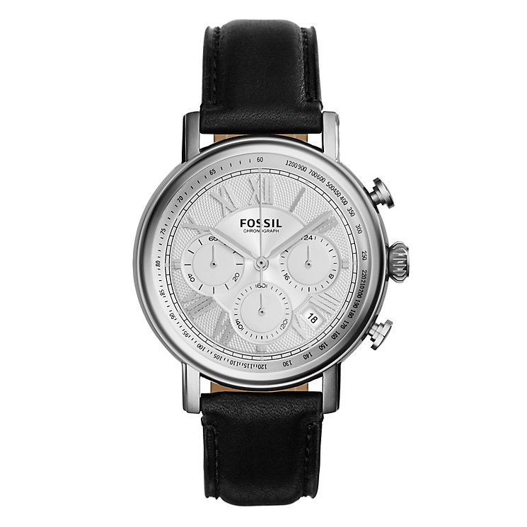 Fossil men's stainless steel black leather strap watch - Product number 3760782