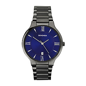 Sekonda Men's Blue Dial Black Ion-Plated Bracelet Watch - Product number 3761096
