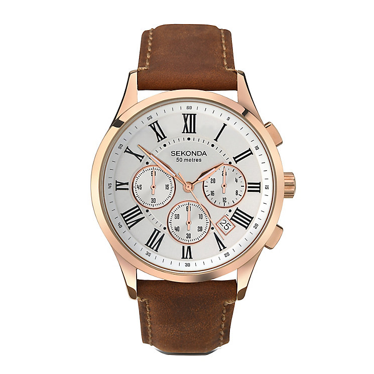 Sekonda Men's Chronograph Brown Leather Strap Watch - Product number 3761118