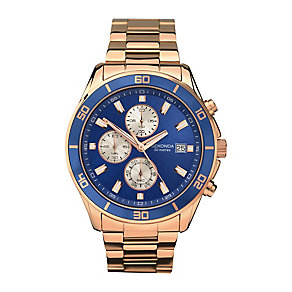 Sekonda Men's Chronograph Rose Gold-Plated Bracelet Watch - Product number 3761193