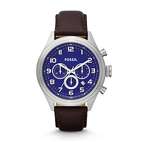 Fossil Asher Men's Stainless Steel Blue Dial Strap Watch - Product number 3761479