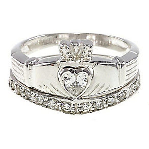 Cailin Sterling Silver Claddagh Eternity Ring Set - Size M - Product number 3762440
