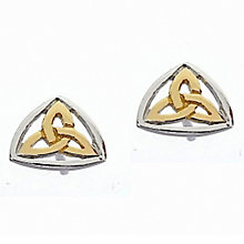 Cailin Silver & Yellow Gold Plate Trinity Knot Earrings - Product number 3762459