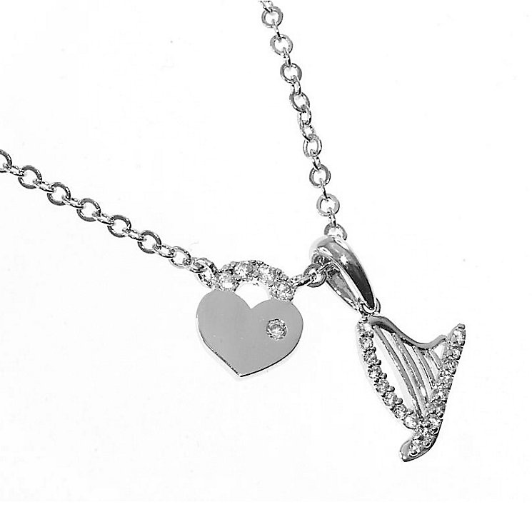 Cailin Sterling Silver Stone Set Harp and Heart Necklace - Product number 3762467