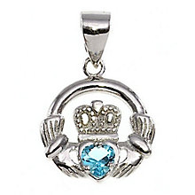 Cailin Silver & Blue Cubic Zirconia Claddagh Pendant - Product number 3762505