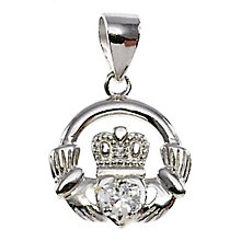 Cailin Silver & Clear Cubic Zirconia Claddagh Pendant - Product number 3762513