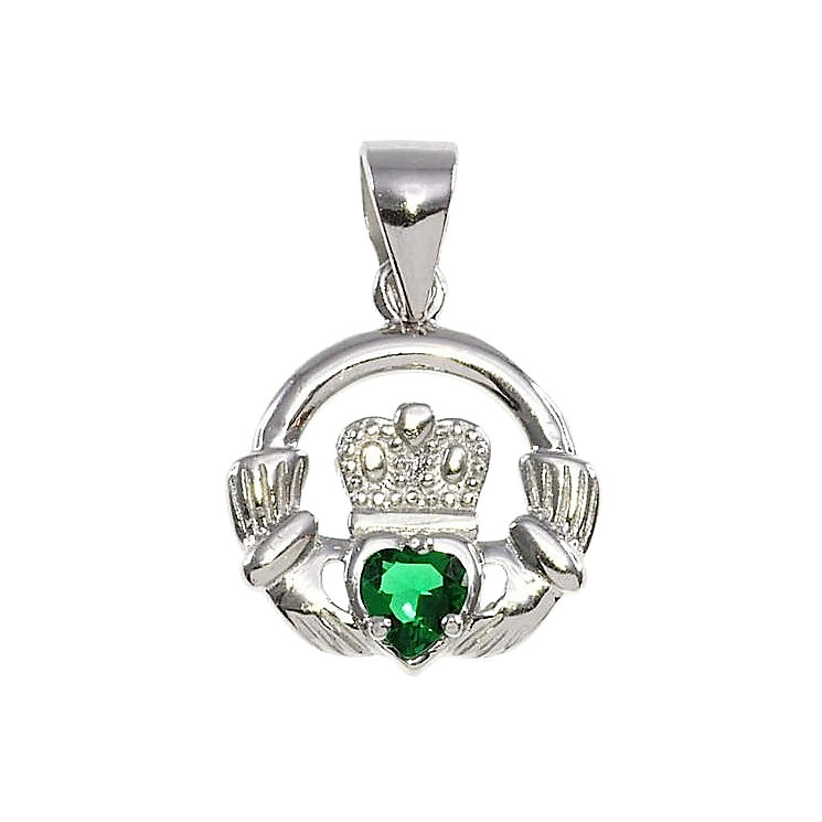 Cailin Silver & Green Cubic Zirconia Claddagh Pendant - Product number 3762521