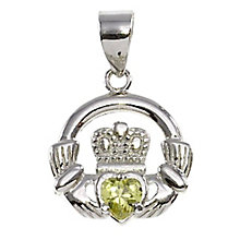 Cailin Silver & Green Cubic Zirconia Claddagh Pendant - Product number 3762564