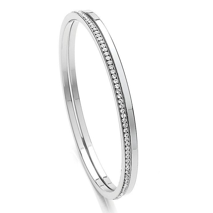 Buckley Rhodium-Plated Stone Set Bangle Duo - Product number 3762726
