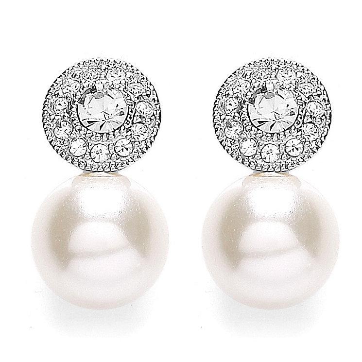 Buckley Stone Set Milgrain Simulated Pearl Stud Earrings - Product number 3762769