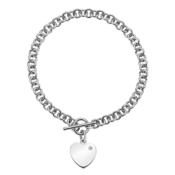 Hot Diamonds Sterling Silver T Bar Heart Charm Bracelet - Product number 3762858