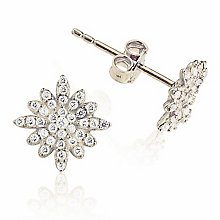 Gaia Sterling Silver Crystal Set Star Stud Earrings - Product number 3762882