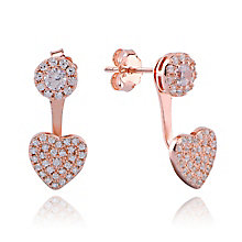 Gaia Rose Gold & Cubic Zirconia Heart Earrings - Product number 3762912